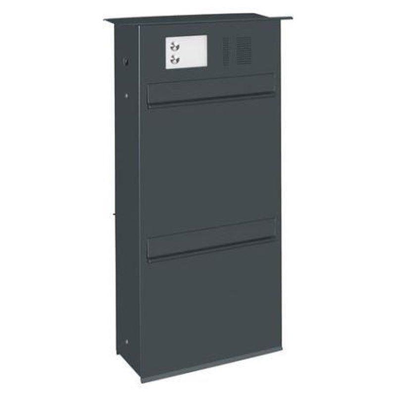 briefkasten likno 9001u ke und klingel oben entnahme hinten dach eckig ral 7016 anthrazitgrau. Black Bedroom Furniture Sets. Home Design Ideas
