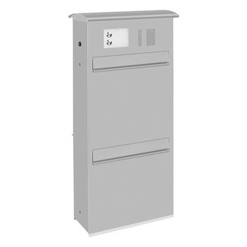 briefkasten likno 9001u ke und klingel oben entnahme hinten dach rund ral 9006 wei aluminium. Black Bedroom Furniture Sets. Home Design Ideas