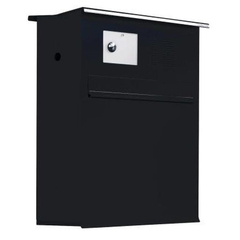 briefkasten likno 8005 ke oben entnahme hinten dach eckig ral 9005 tiefschwa. Black Bedroom Furniture Sets. Home Design Ideas